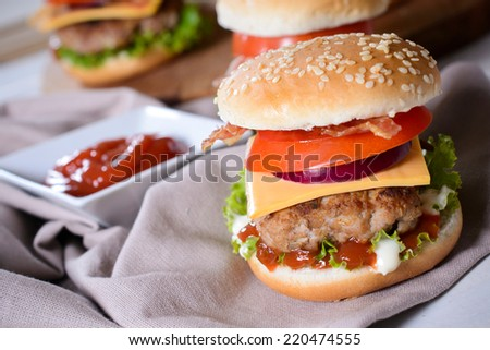 Mini burger with vegetables and cheese,selective focus  - stock photo
