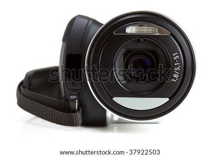 Mini camcorder isolated on white background with front view - stock photo