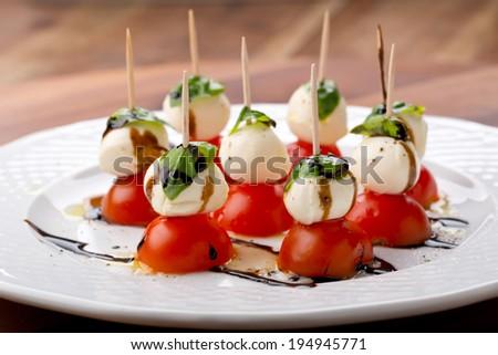 mini caprese finger food - stock photo