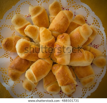Mini croissant bread on buffet line