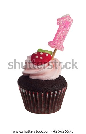 Mini cupcake with birthday candle for one year old isolated on white background - stock photo