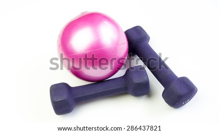 Mini dumbbell or dumb bell with pilates toning ball for workout activities. Concept of gym basic exercise fitness equipment. Isolated on white background. Copy space. - stock photo