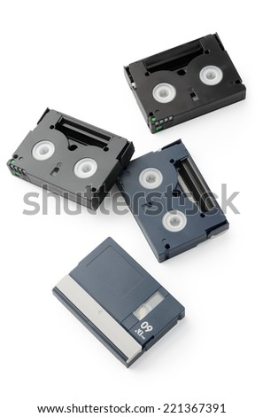 Mini DV Cassettes isolated on white background. Above view. - stock photo