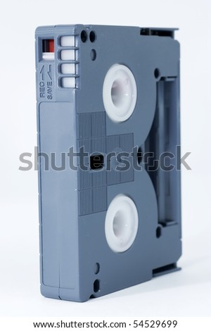 Mini DV tape isolated on white