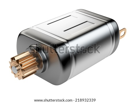 Mini Electrical Motor isolated on a white background - stock photo