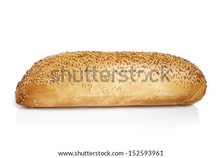 Mini French bread baguette with sesame seeds on a white background  - stock photo