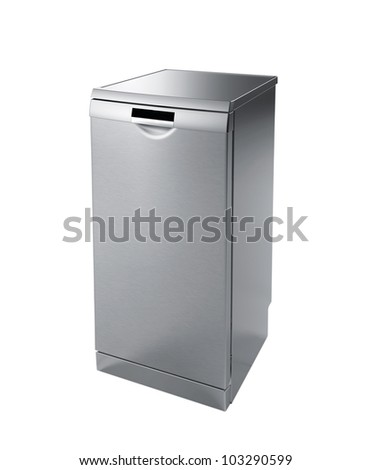 Mini fridge isolated on white - stock photo