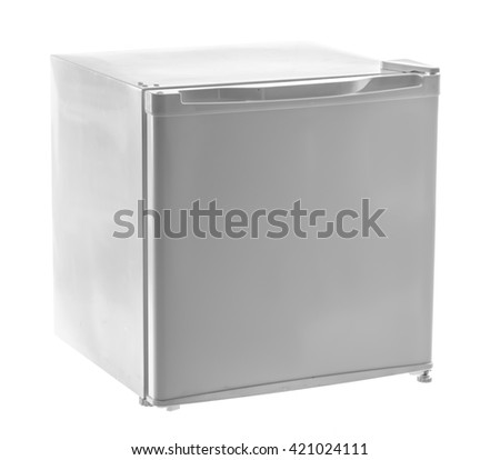 Mini fridge isolated on white background