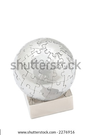 mini globe close up on white background, space for messages - stock photo