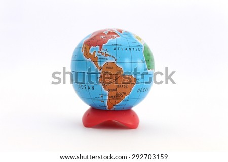 mini globe with map of many continent and countries