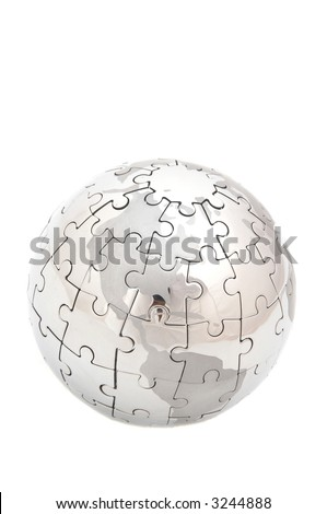 mini globe with puzzle pieces, space for your messages