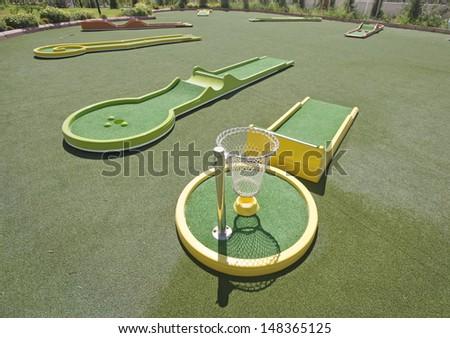 mini golf course - stock photo