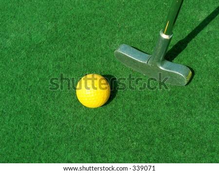 mini-golf outdoors - stock photo