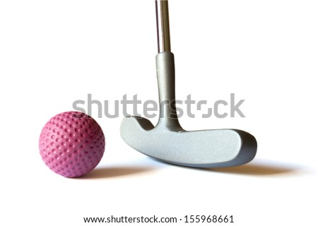 Mini Golf Stick with red colored ball on an isolated background - stock photo