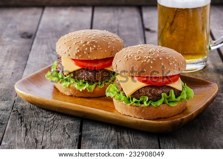 mini hamburger with cutlet cheese and tomato - stock photo