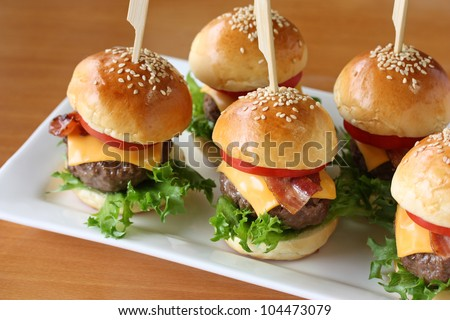 mini hamburgers, mini burgers, party food, finger food - stock photo