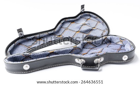 Mini hard case for electric guitar. Isolated on white background. Slightly defocused and close-up shot. Copy space.  - stock photo