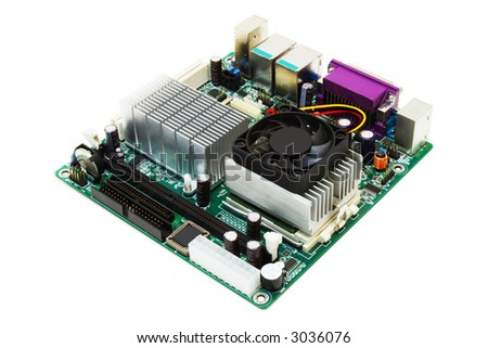 mini-itx motherboard on a white background - stock photo