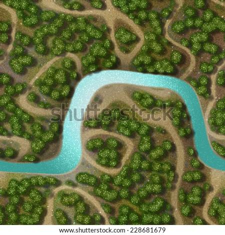 Mini landscape generated hires background - stock photo