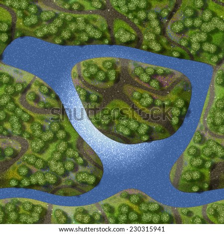 Mini landscape seamless generated background - stock photo
