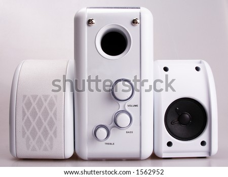Mini loudspeakers system - stock photo