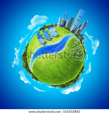 Mini planet concept. City, ocean, forest, wind turbines, solar batteries, river and fresh green field. Earth collection. - stock photo