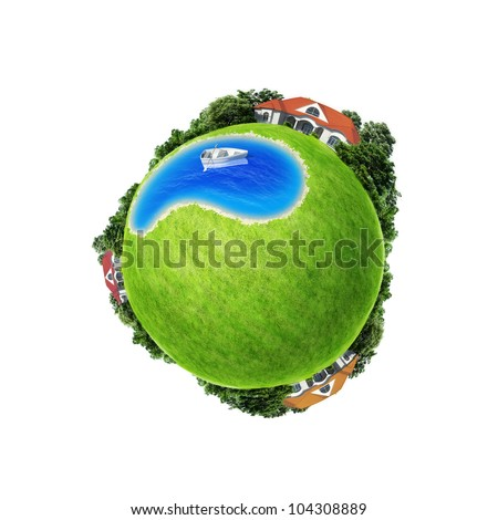 Mini planet concept isolated. Boat in center of the pond between three villages. Countryside concept. Earth collection. Green field copy space for text, logo, advertisement or product. - stock photo