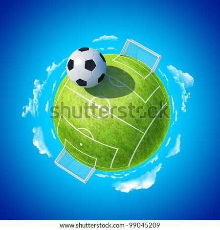 Mini planet concept. Soccer stadium with hyperbolic ball. Football championship concept. Earth collection. - stock photo