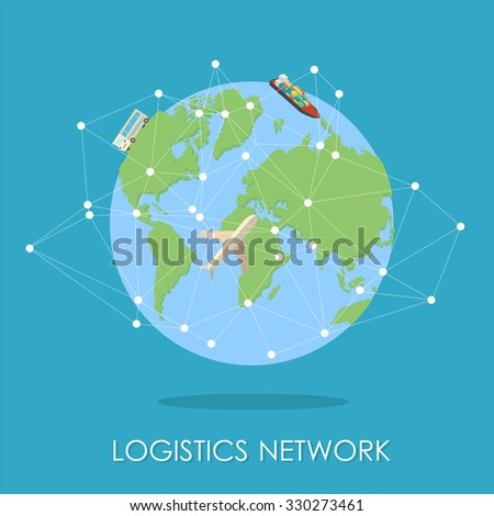 Mini planet concept. Truck heading to the city on horizon, huge cargo ship in the ocean. Delivery, transportation expedition concept. Global logistics, shipping and worldwide delivery business concept - stock photo