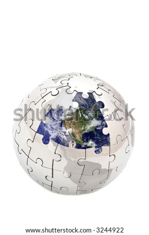 mini puzzle globe with missing pieces and eart image inside.