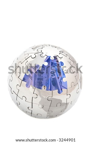 mini puzzle globe with us dollars inside, both images are from my portfolio