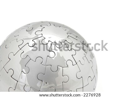 mini puzzle world on white background, space for messages - stock photo