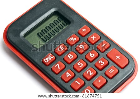 MIni red calculator isolated on white background