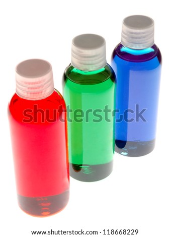 Mini sample bottles of colorful chemical - stock photo