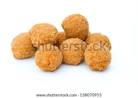 mini scotch eggs on white - stock photo