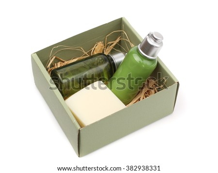 Mini set for spa, sauna bath - small bottles of shampoo and soap  in still life - stock photo