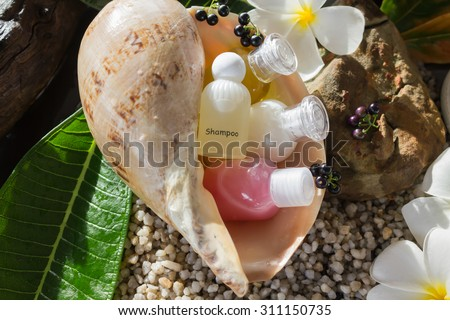 mini set of bubble bath shower and natural harmony boutique style background decorated with flowers plumeria and conch additional feeling of sea and beach island or aroma spa - stock photo