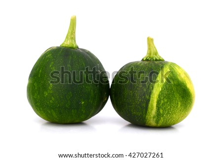 mini squash vegetables isolated on white