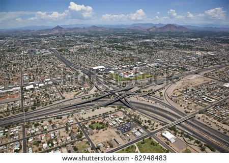 Mini stack interchange aerial from above - stock photo