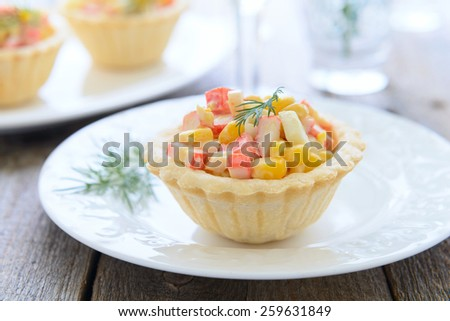 Mini tart with crab meat and sweet corn salad for holiday - stock photo