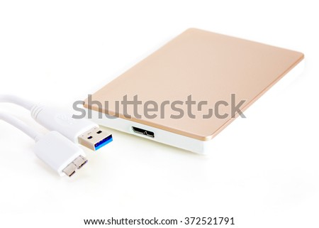 Mini USB 3.0 plug and socket on external device - stock photo