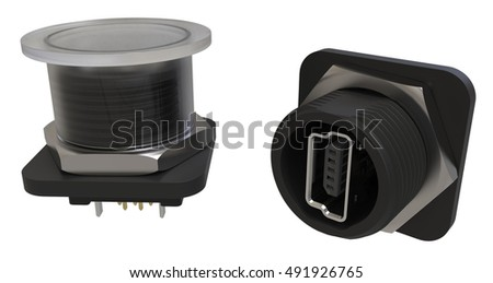 Mini-USB protected connector isolated on white. 3D rendering