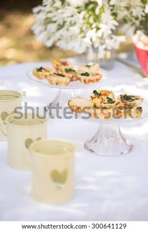 Mini Vegetable Pies, Outdoor Buffet - stock photo