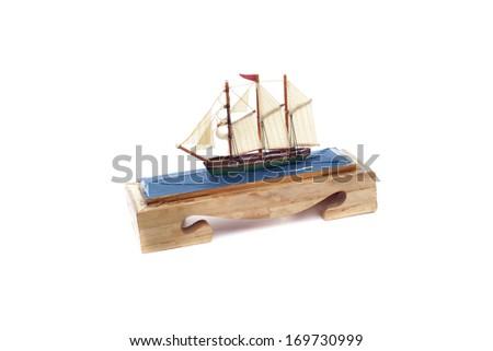 Mini Vintage Boat Toy on White Background - stock photo
