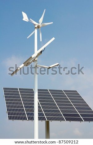 Mini wind power and solar panels for domestic use