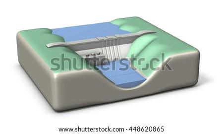 Miniature architectural models of Dam. 3D illustration, - stock photo