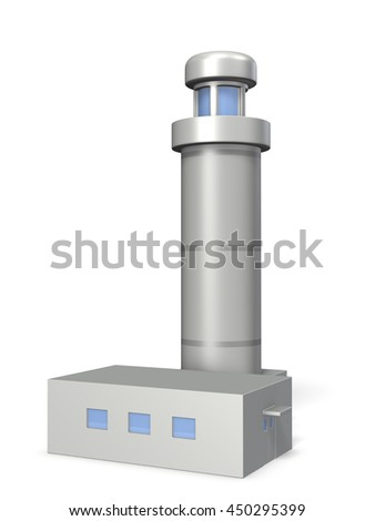 Miniature architectural models of lighthouse, 3D illustration - stock photo
