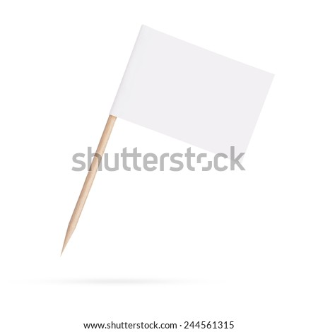 Miniature blank white flag. Ready for a Message . Paper flag Isolated on white background. With clipping path - stock photo
