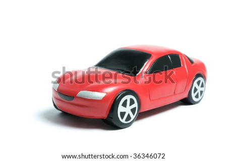 Miniature Car on White Background - stock photo