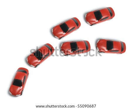 Miniature Cars on White Background - stock photo